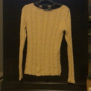 Tan Ralph Lauren lightweight cable knit sweater